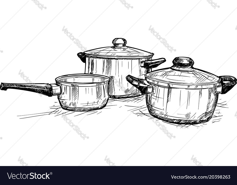 Hand Drawing Of Set Cooking Pots Vector Image