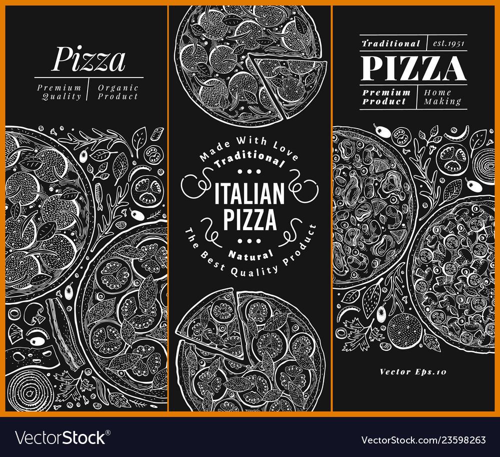 Italian pizza banner set hand drawn