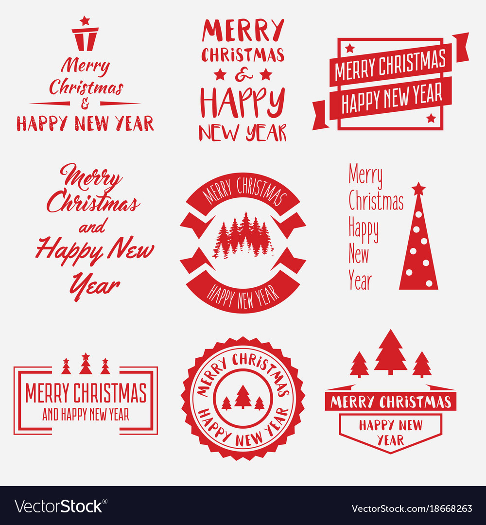 Merry christmas lettering design set of