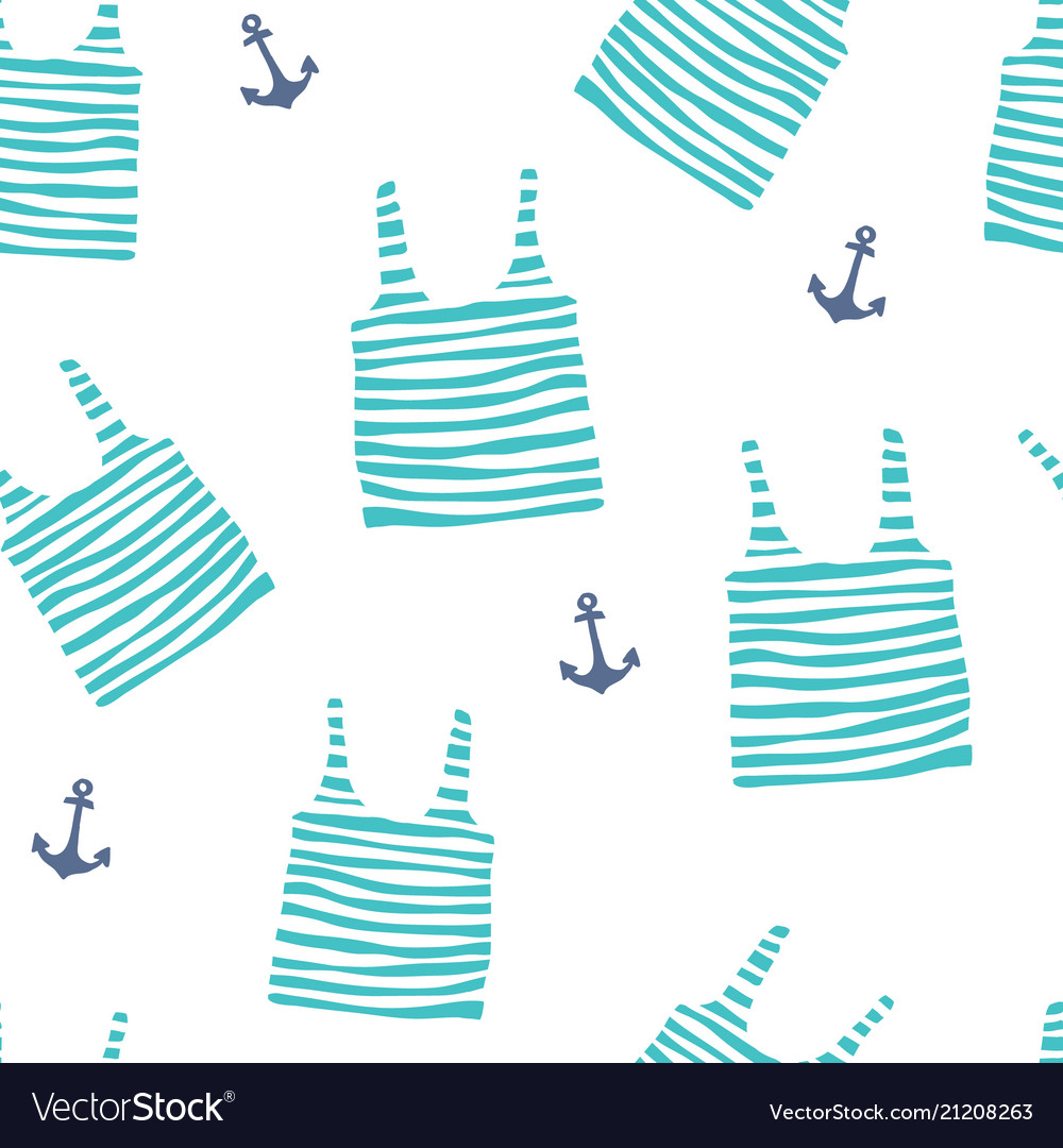 Seamless pattern with striped jerseys and anchor