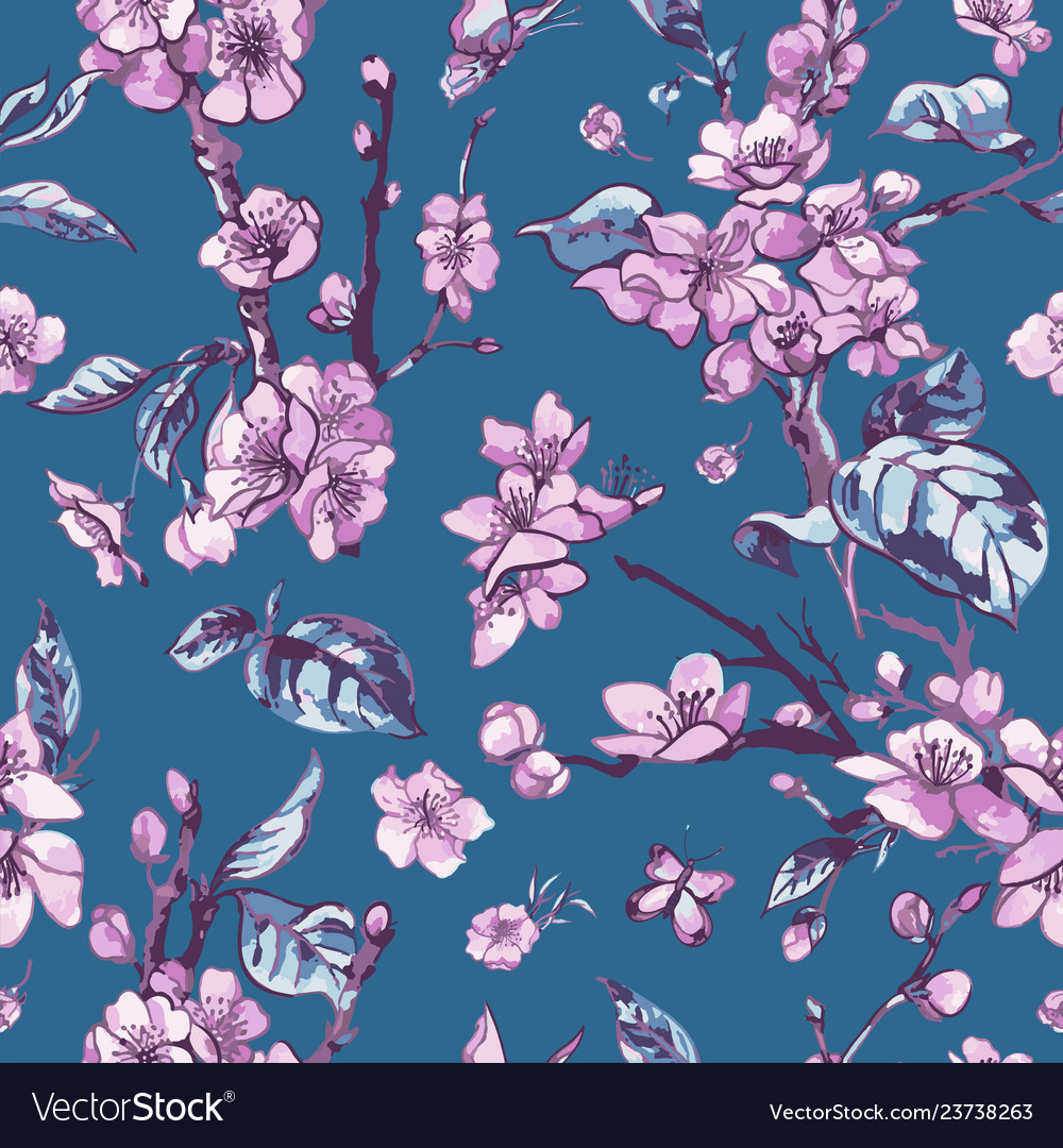 Spring seamless pattern vintage floral