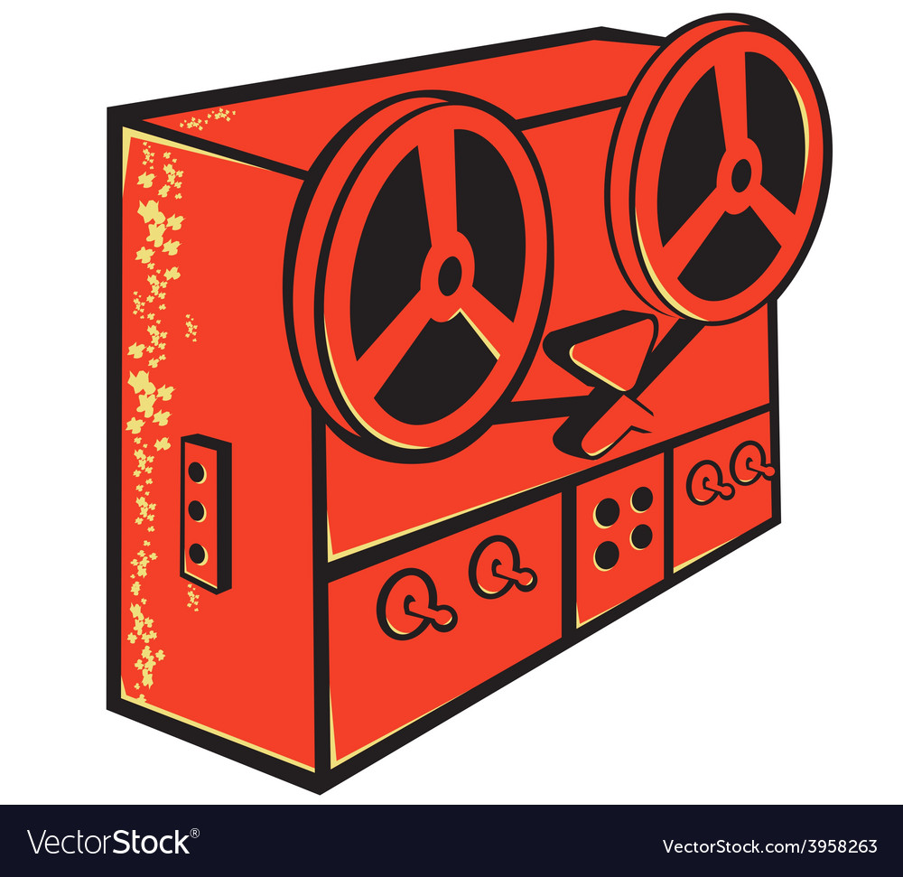 Tape recorder reel cassette deck retro vector image