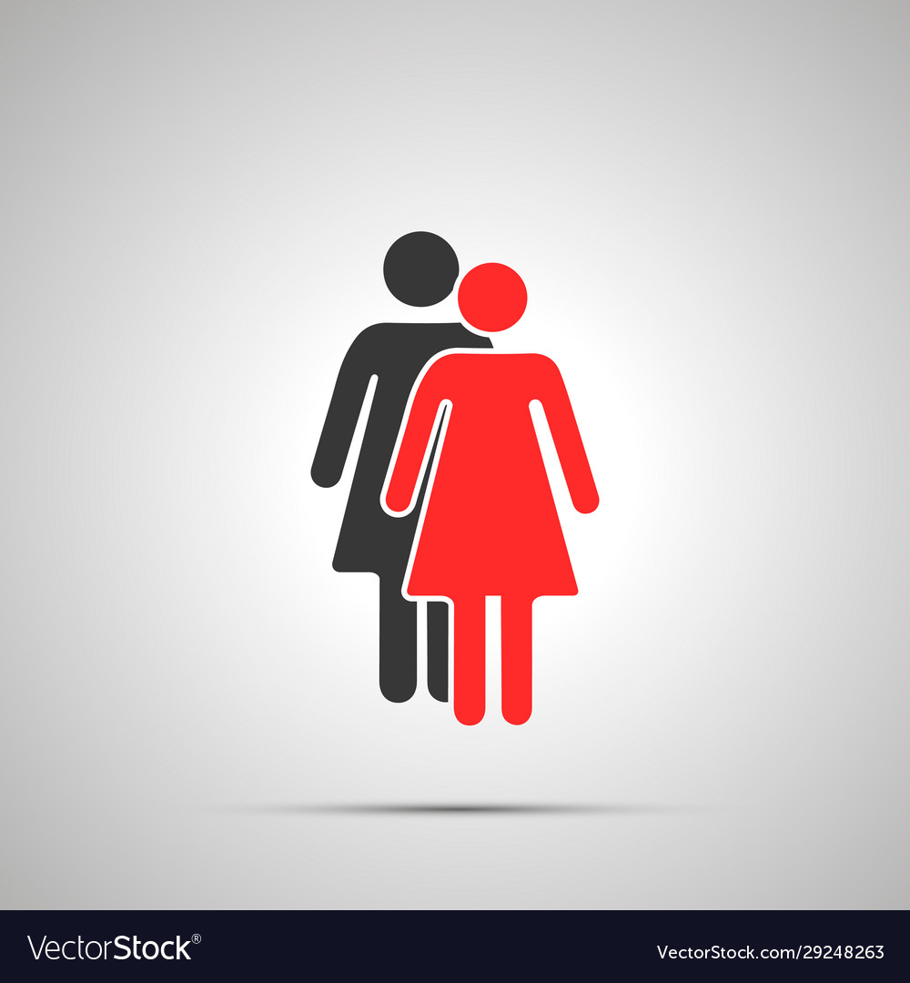 Two women silhouettes with red leader simple