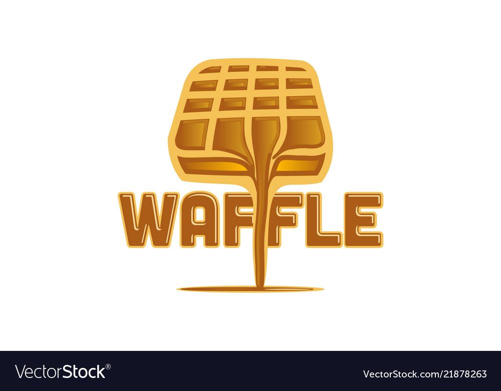 Waffle and chocolate melted logo design