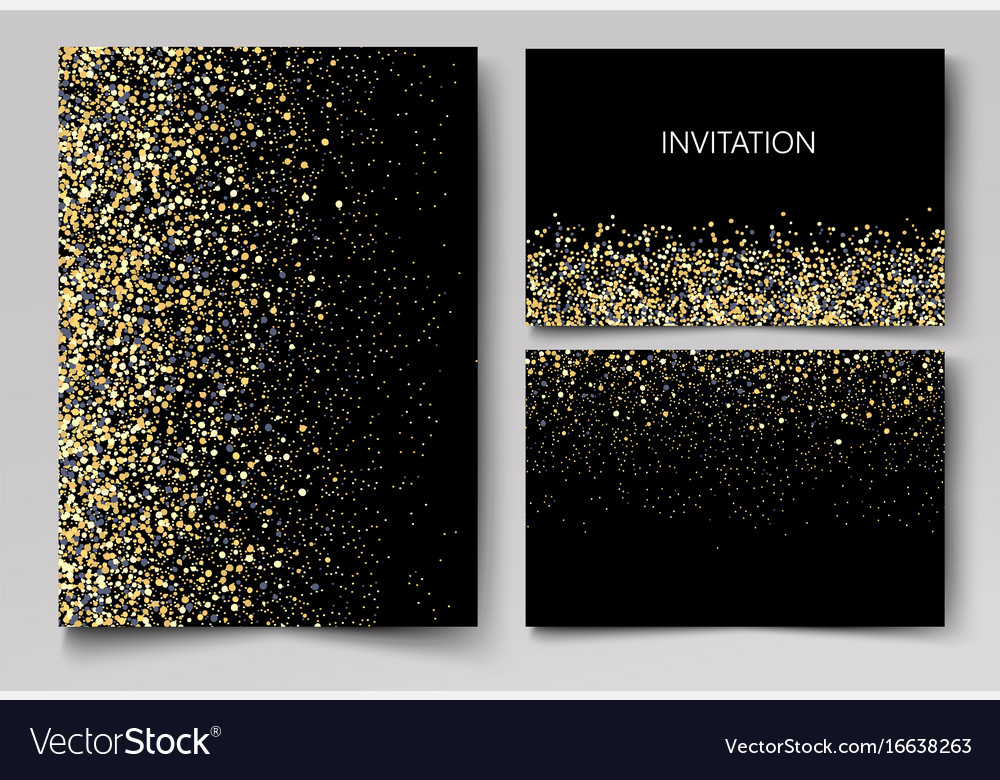 Wedding set cards with the abstract golden
