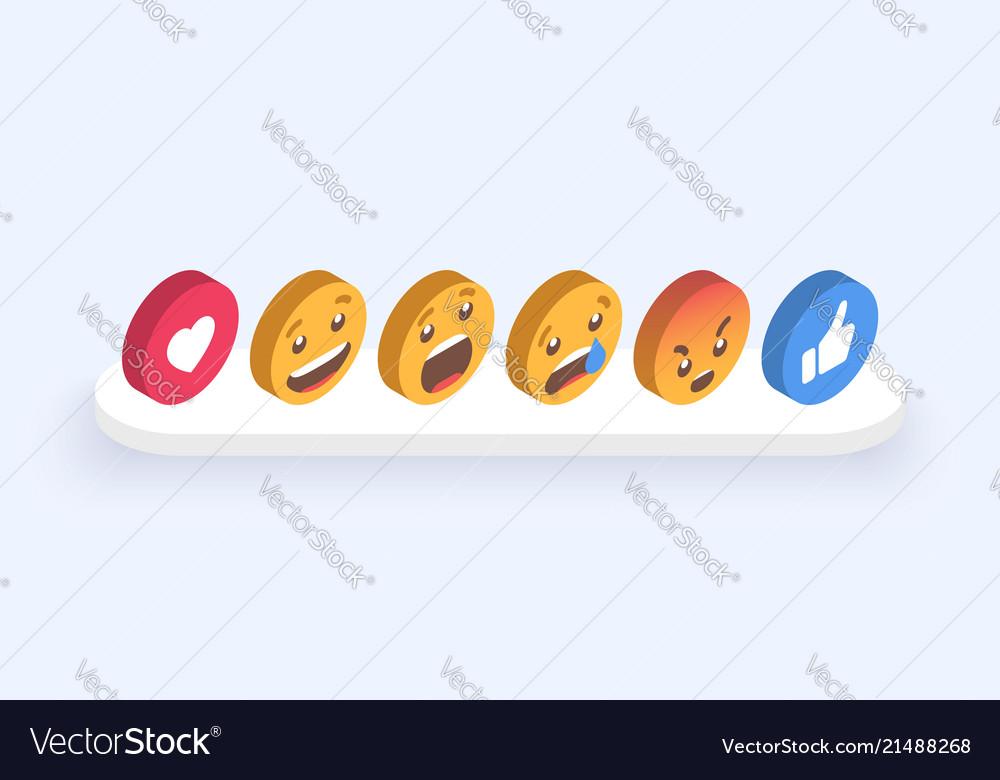 Abstract isometric set of emoticons emoji flat