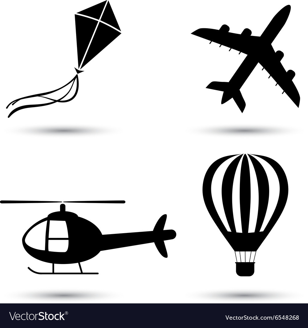 Airplane helicopter air balloon and kite