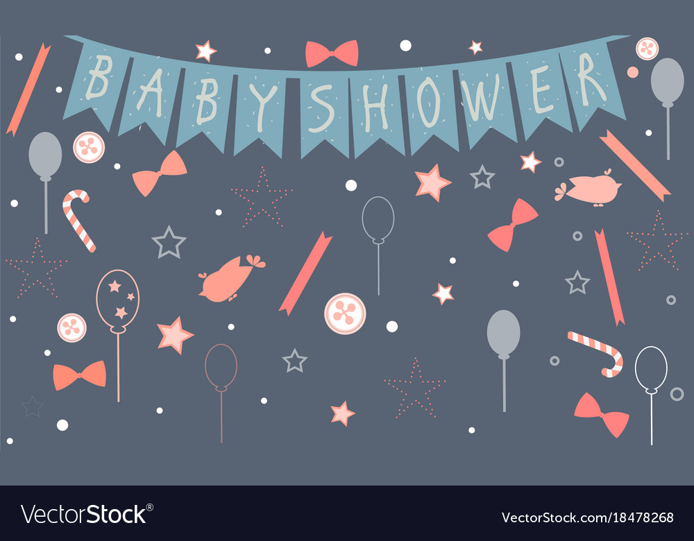 Baby shower celebration card design with birds