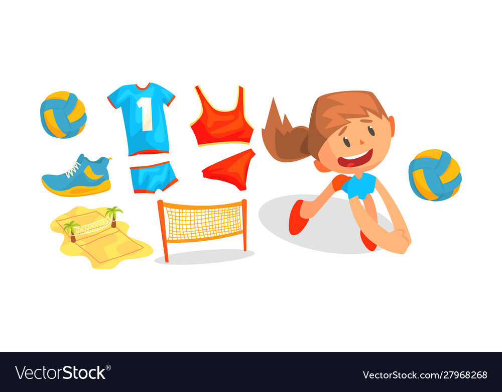 Beach volleyball attributes and girl playing