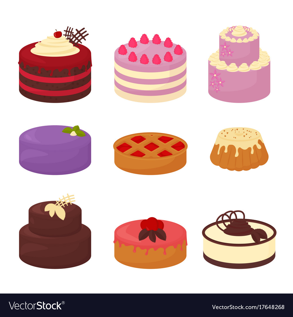 Cakes set icons in cartoon flat style