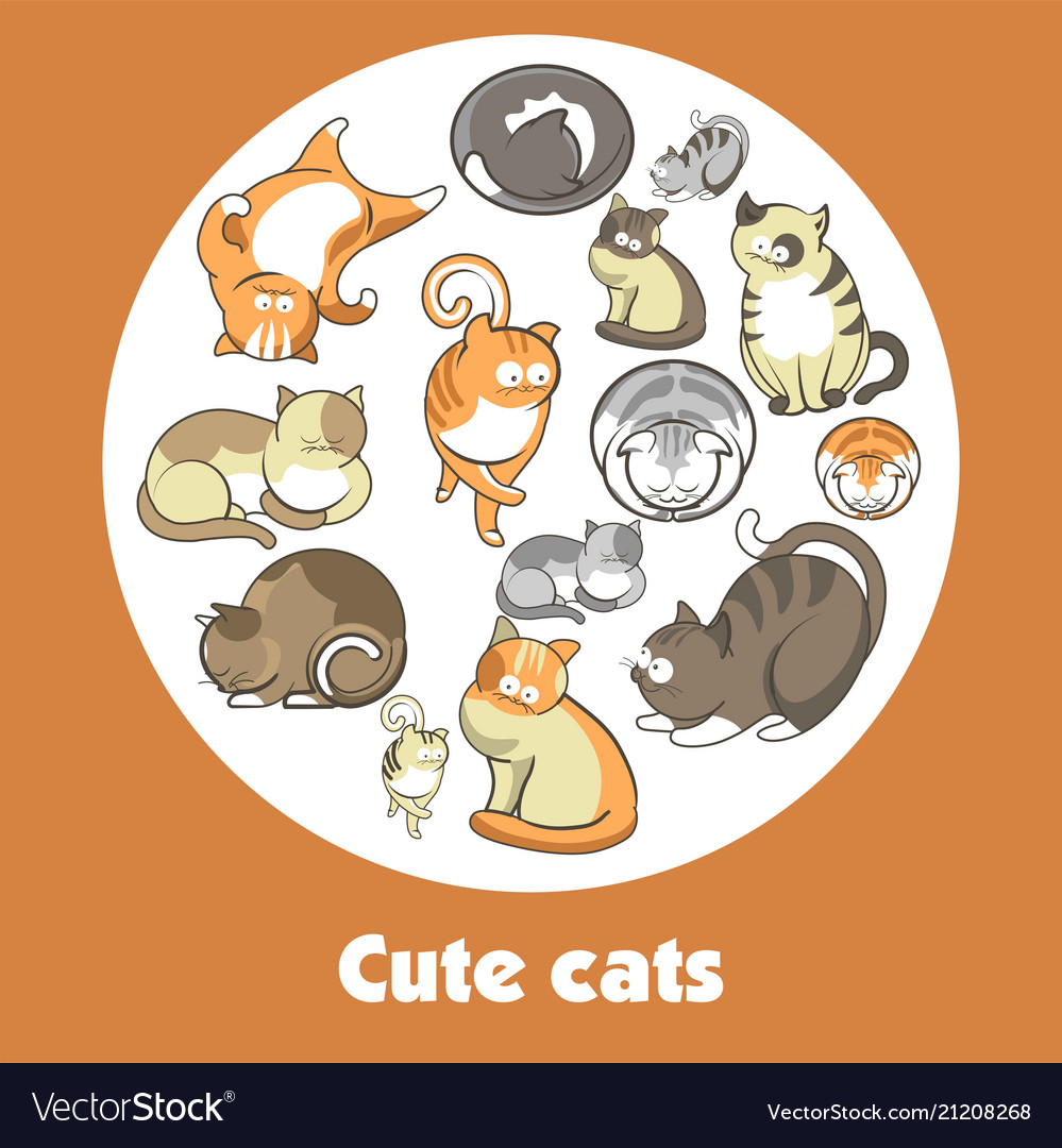 Cartoon cute cats and funny kittens poster
