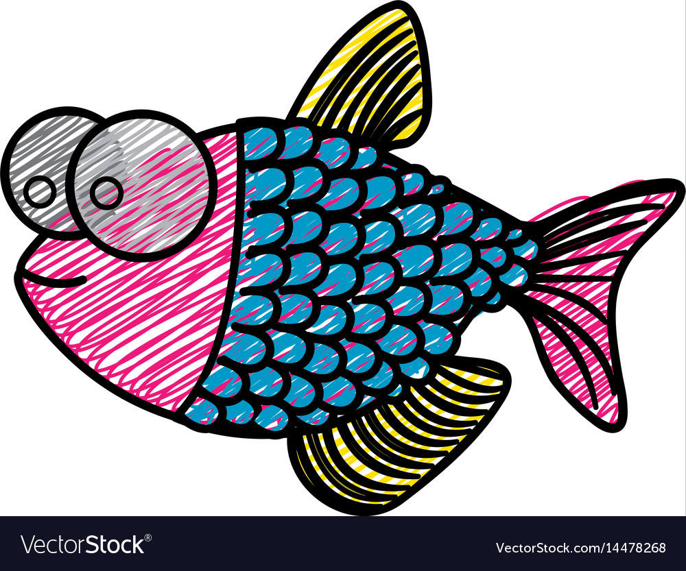 Color pencil drawing of fish with big eyes and vector image
