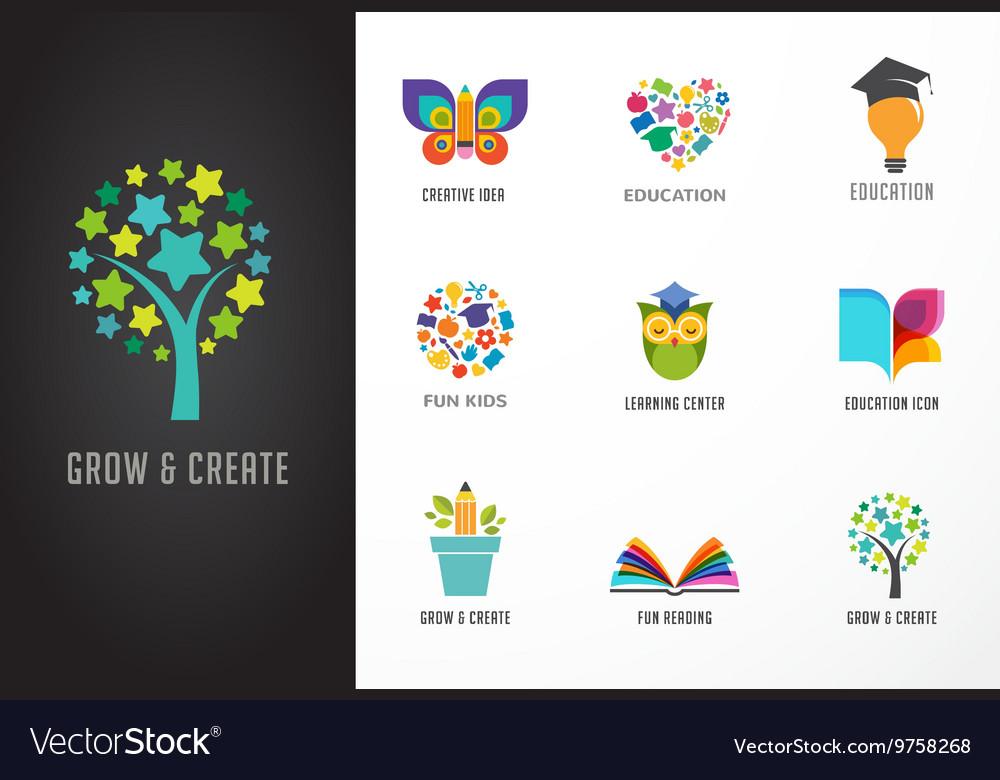 Education icons elements set