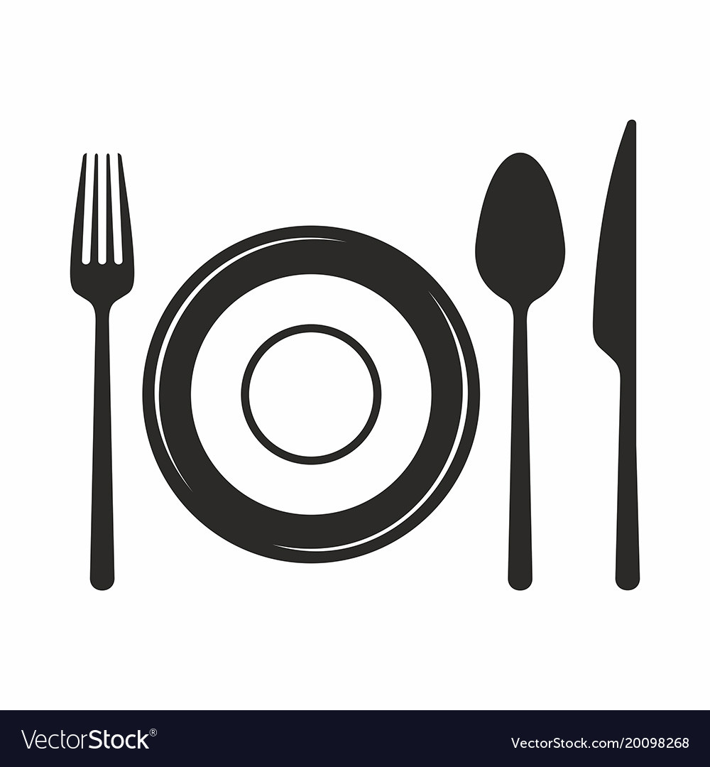 fork knife spoon and plate icon royalty free vector image