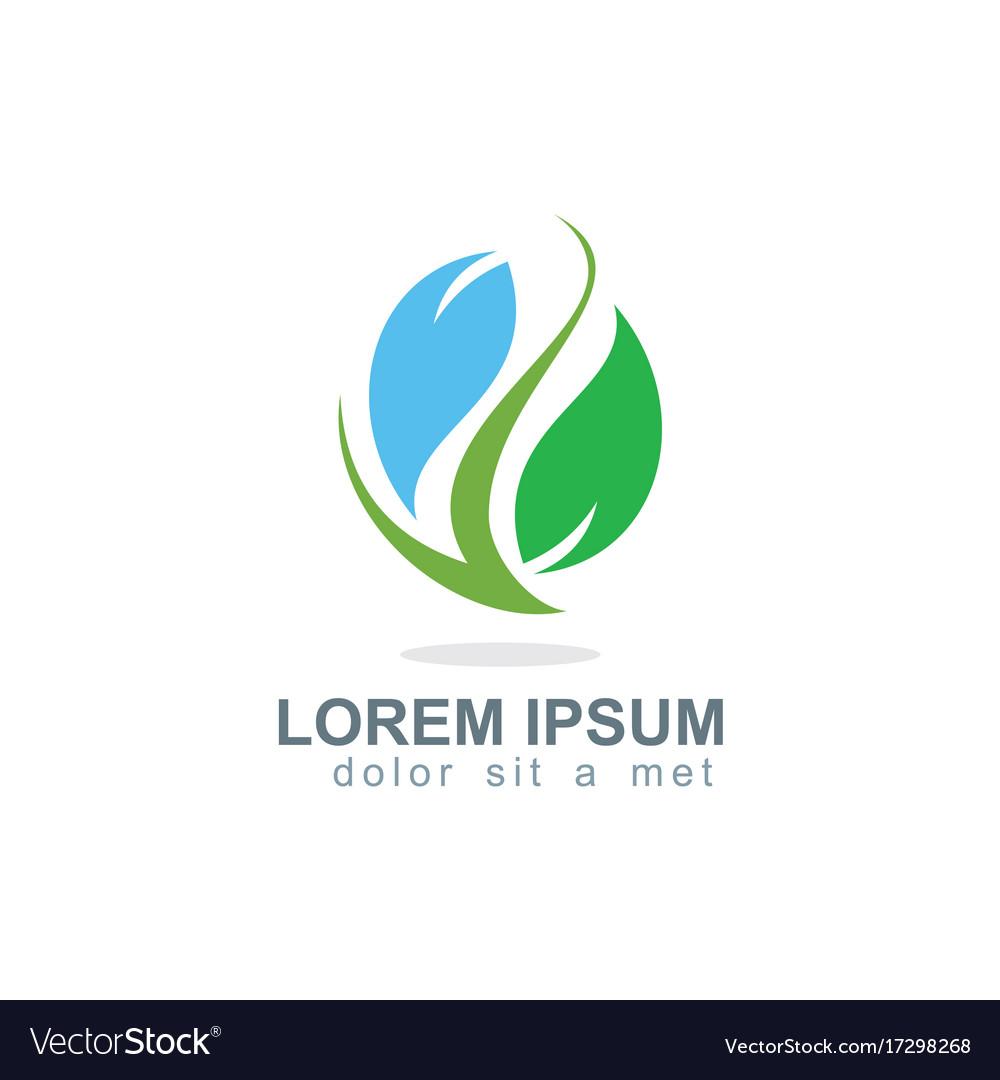 Green leaf organic colored logo vector image