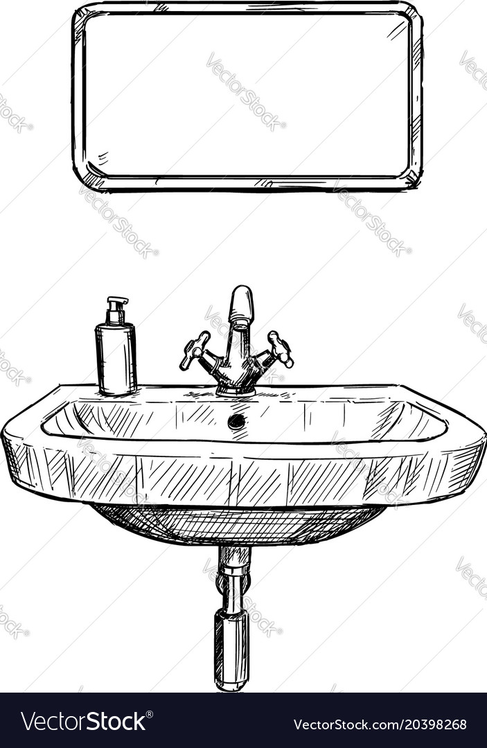 Hand Drawing Of Sink And Mirror In Bathroom Vector Image - Drawing of bathroom