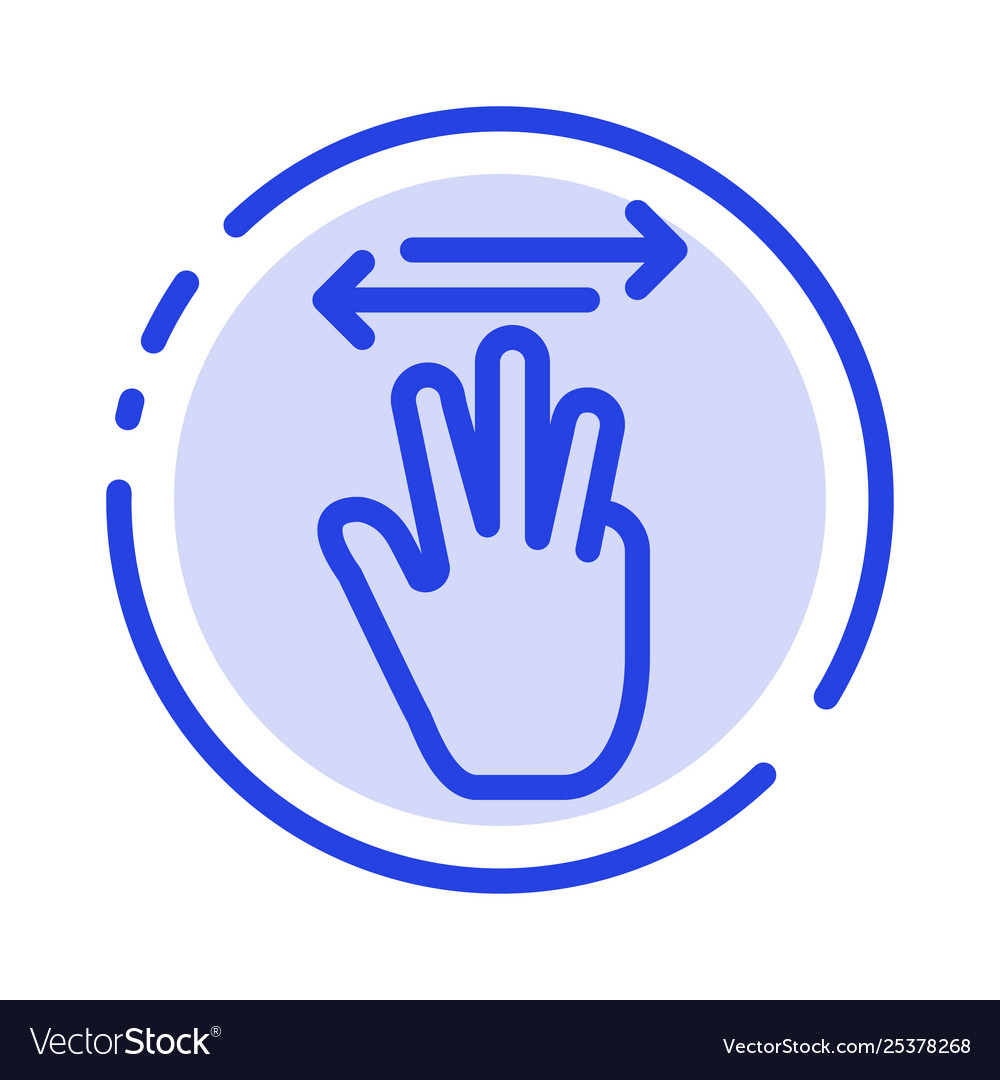 Hand hand cursor up left right blue dotted line