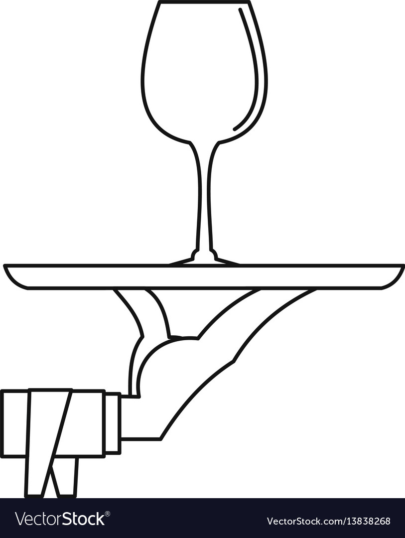 Hand of waiter with tray icon outline style