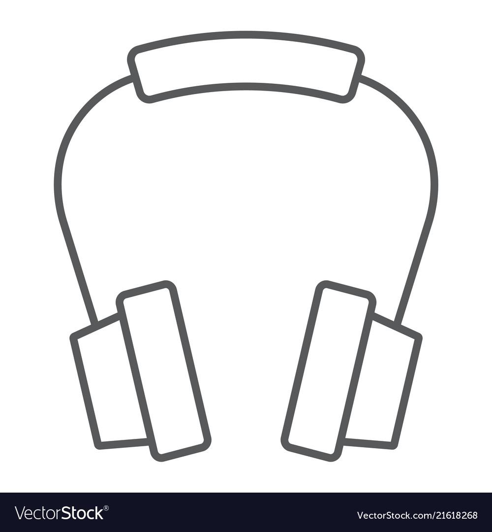 Headphones thin line icon earphone and music