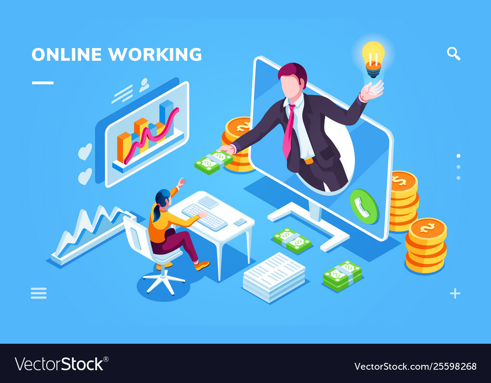 Isometric freelancer or outsource worker office
