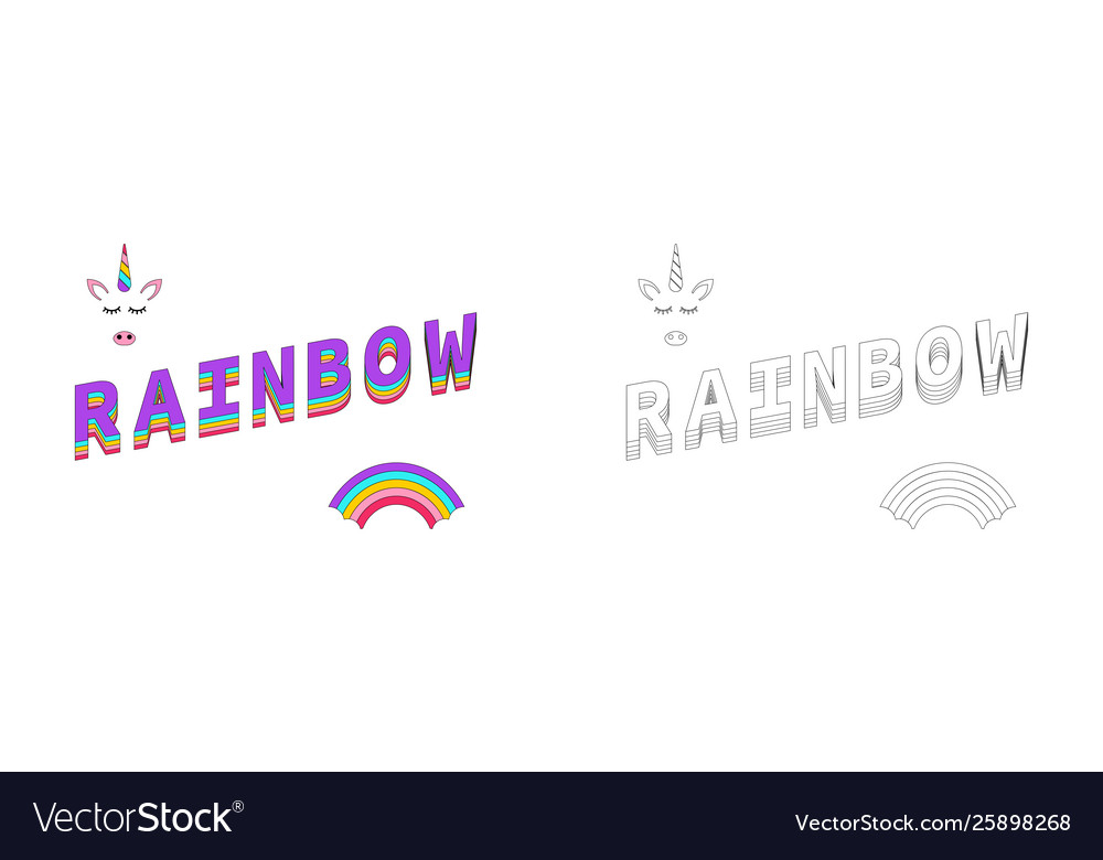 Rainbow coloring rainbow color with unicorn and