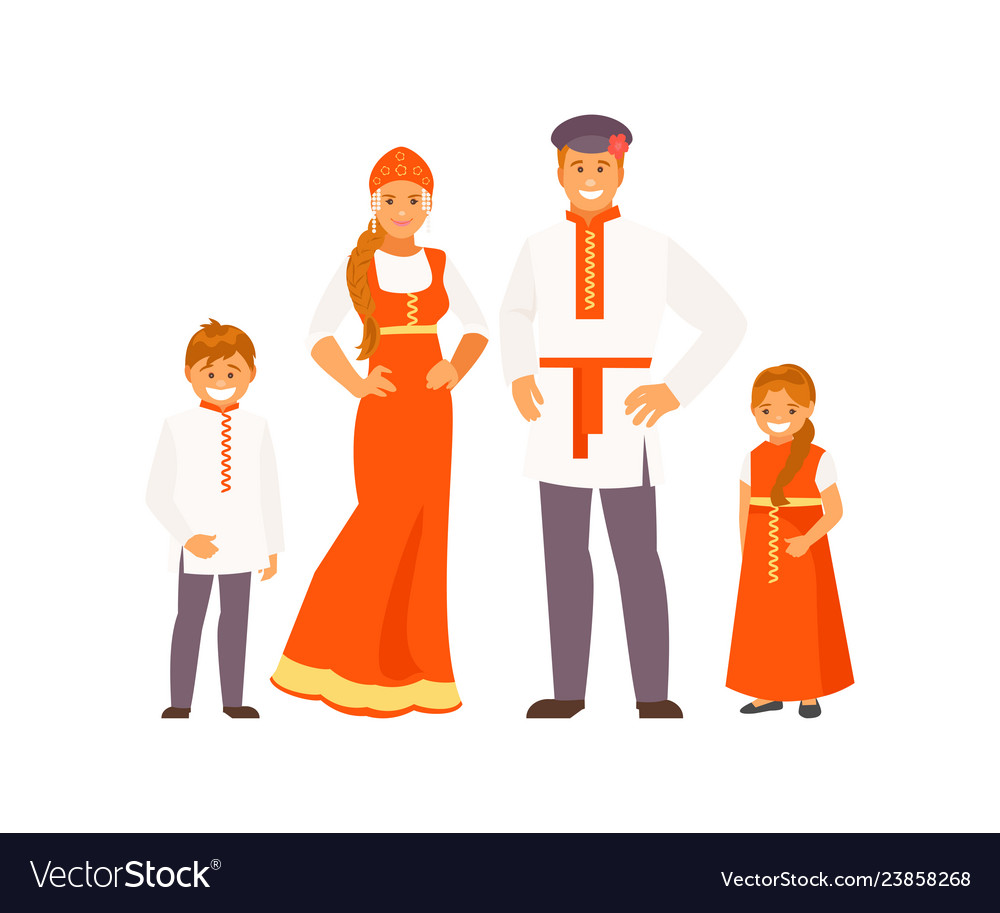 Russian family in traditional clothes