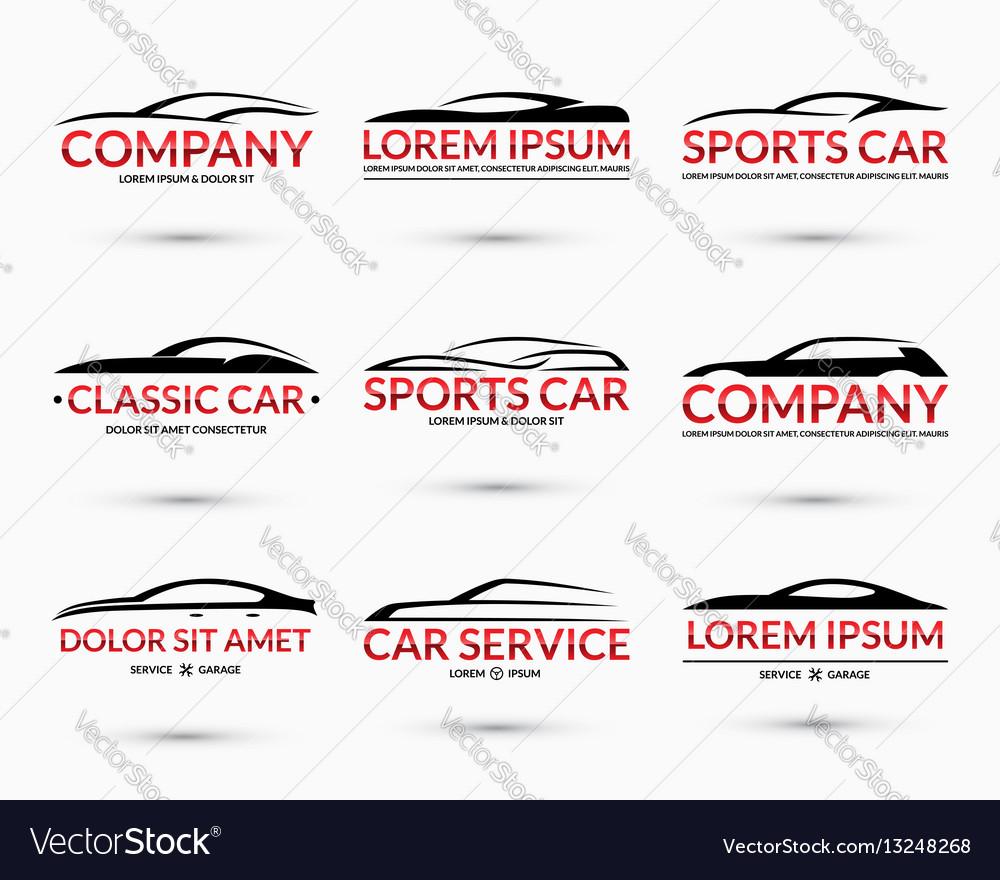 Set of car logo design templates vector image