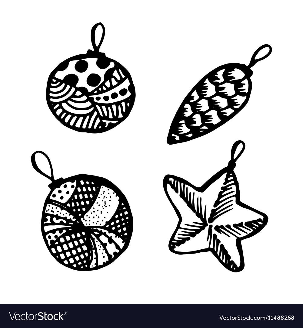 Set of doodle hand drawn Christmas balls
