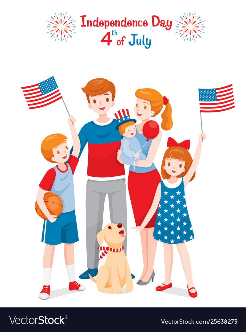 American family celebrating 4th july