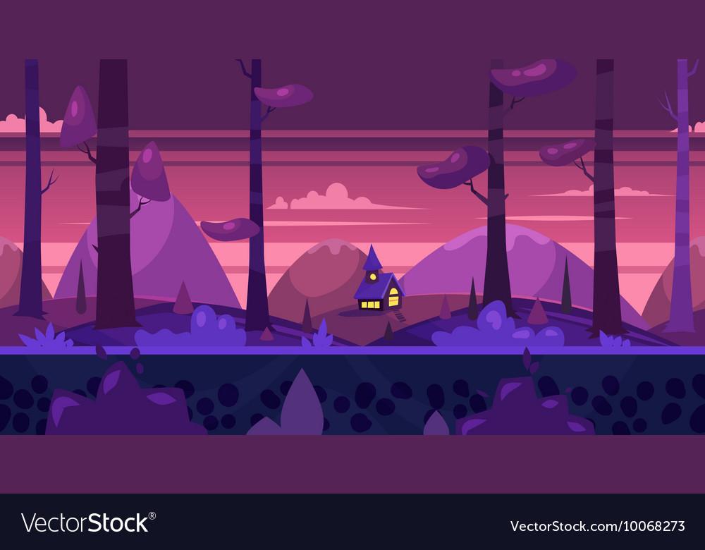 Cartoon nature seamless landscape with night