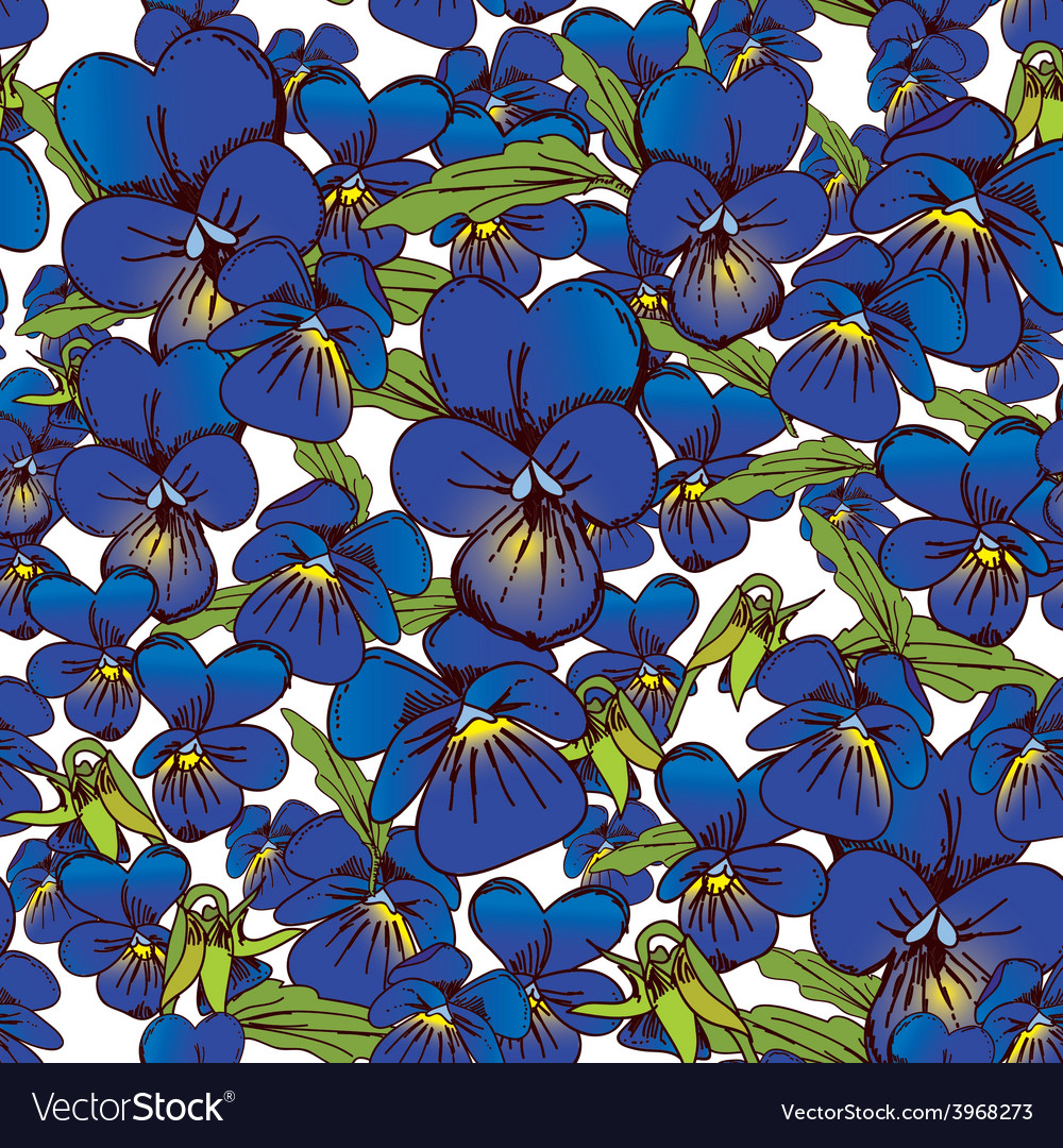 Flowers of pansies and leaves seamless blue