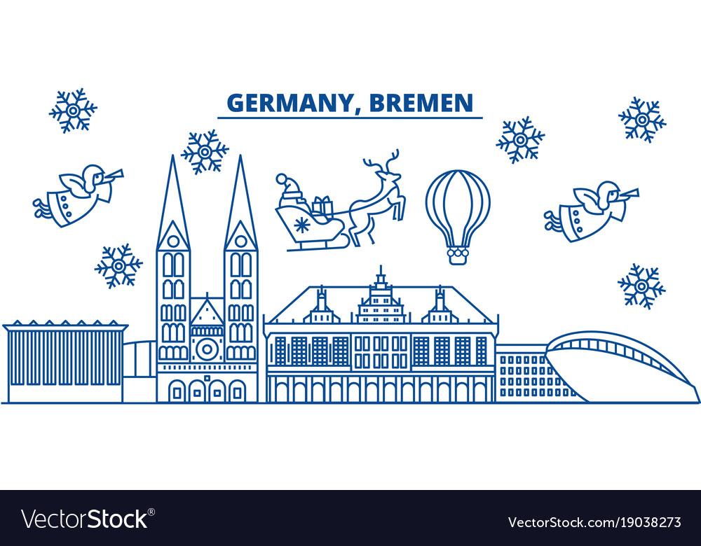Germany bremen winter city skyline merry