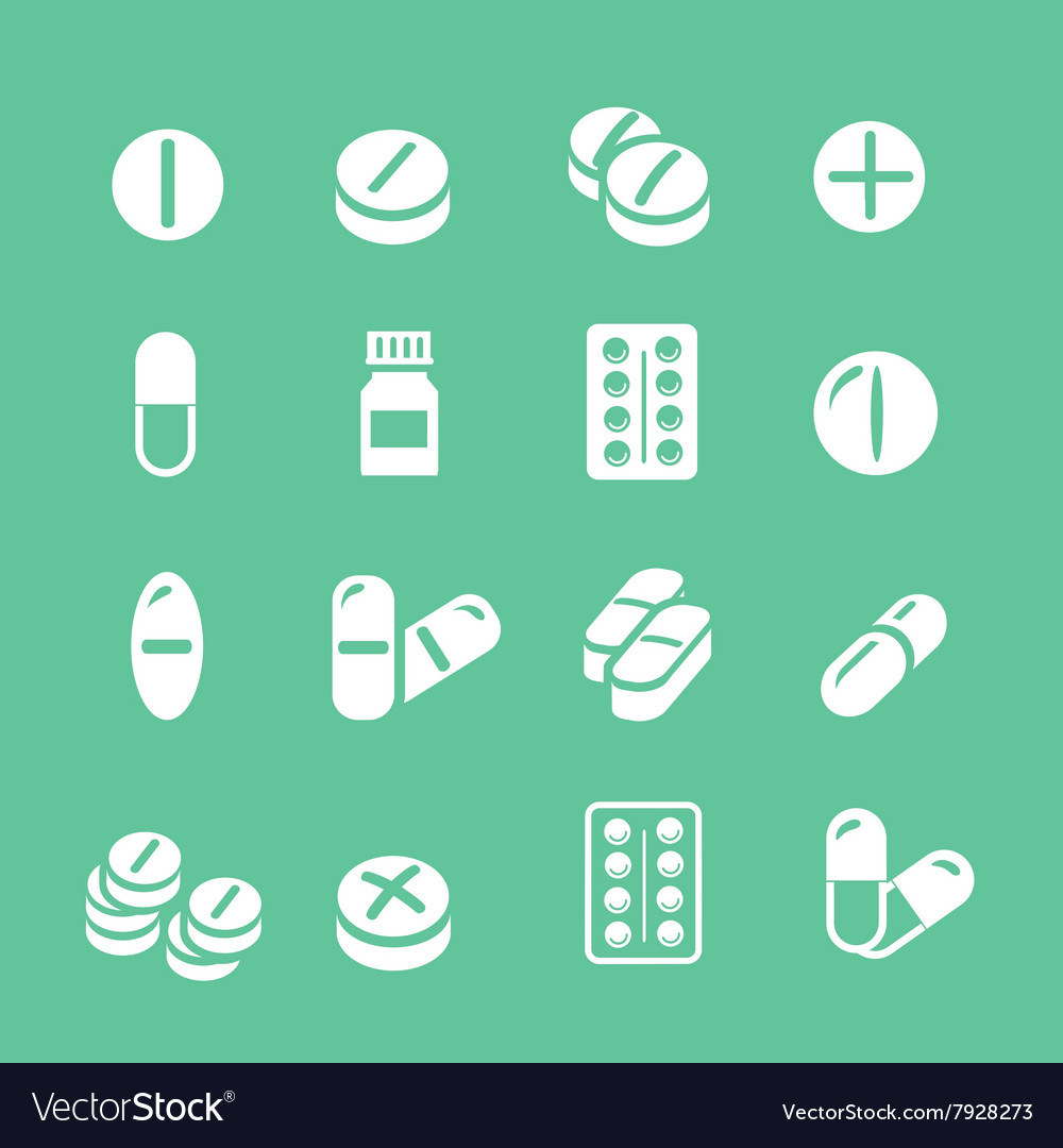 Medical pills white icons set collection