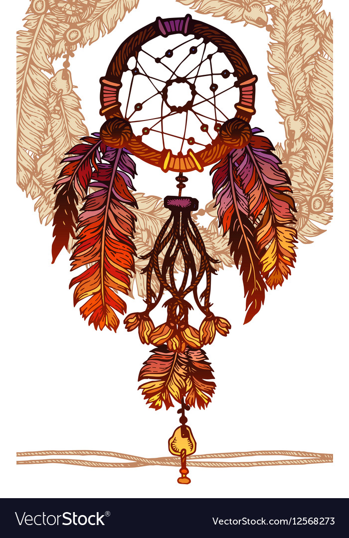 Native American Indian Traditional Dream Catcher Vector Image Classy How To Make Authentic Dream Catchers