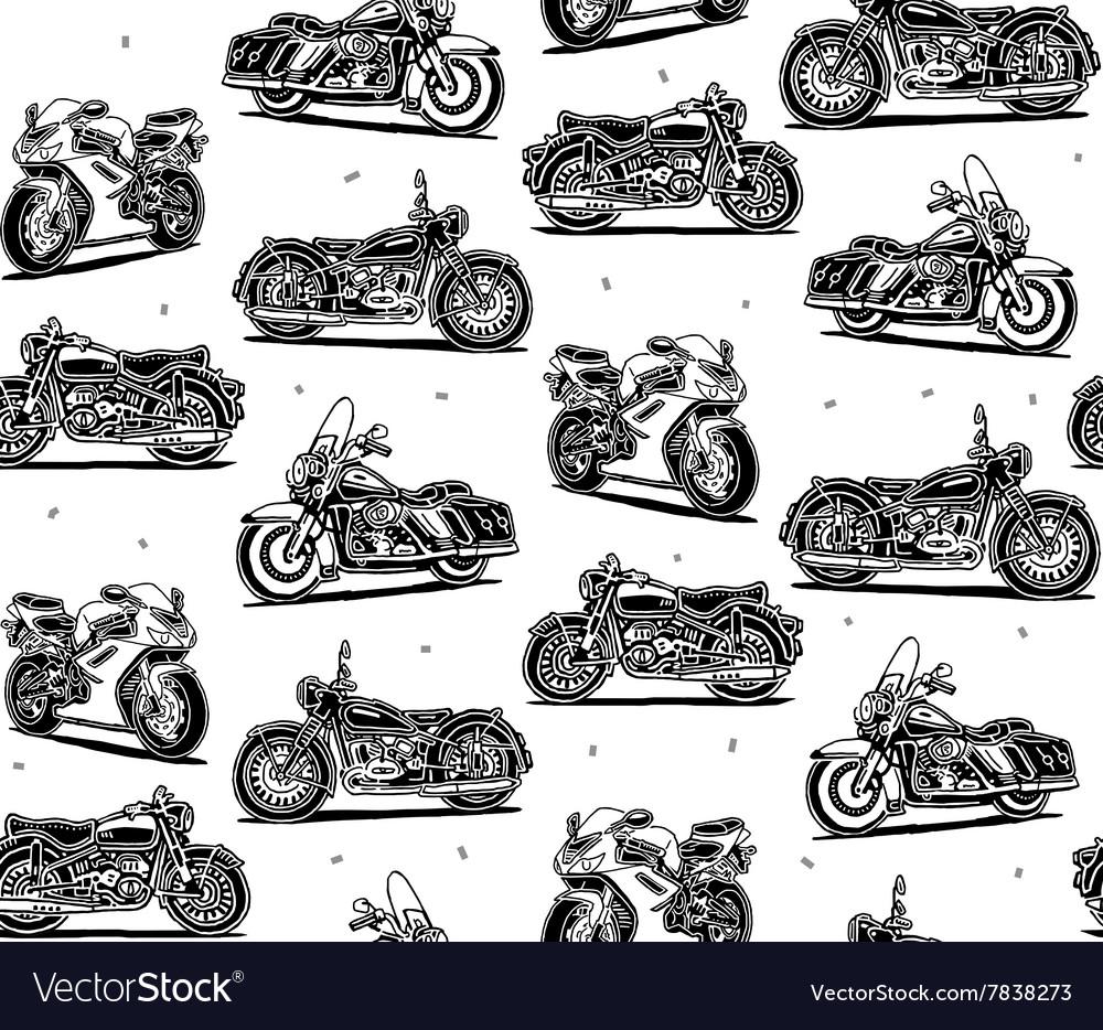 Retro motorcycles seamless pattern