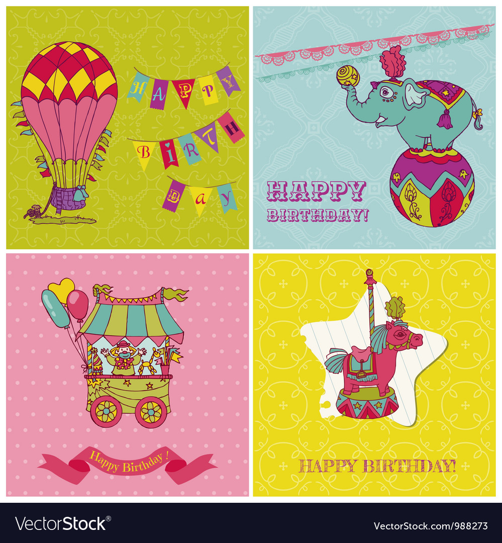 Amazing Set Of Birthday Greeting Cards For Kids Royalty Free Vector Funny Birthday Cards Online Eattedamsfinfo