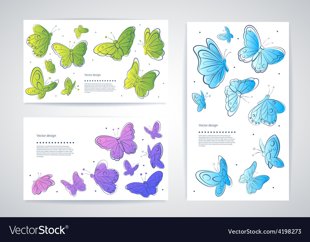 Set of butterfly business cards vector image