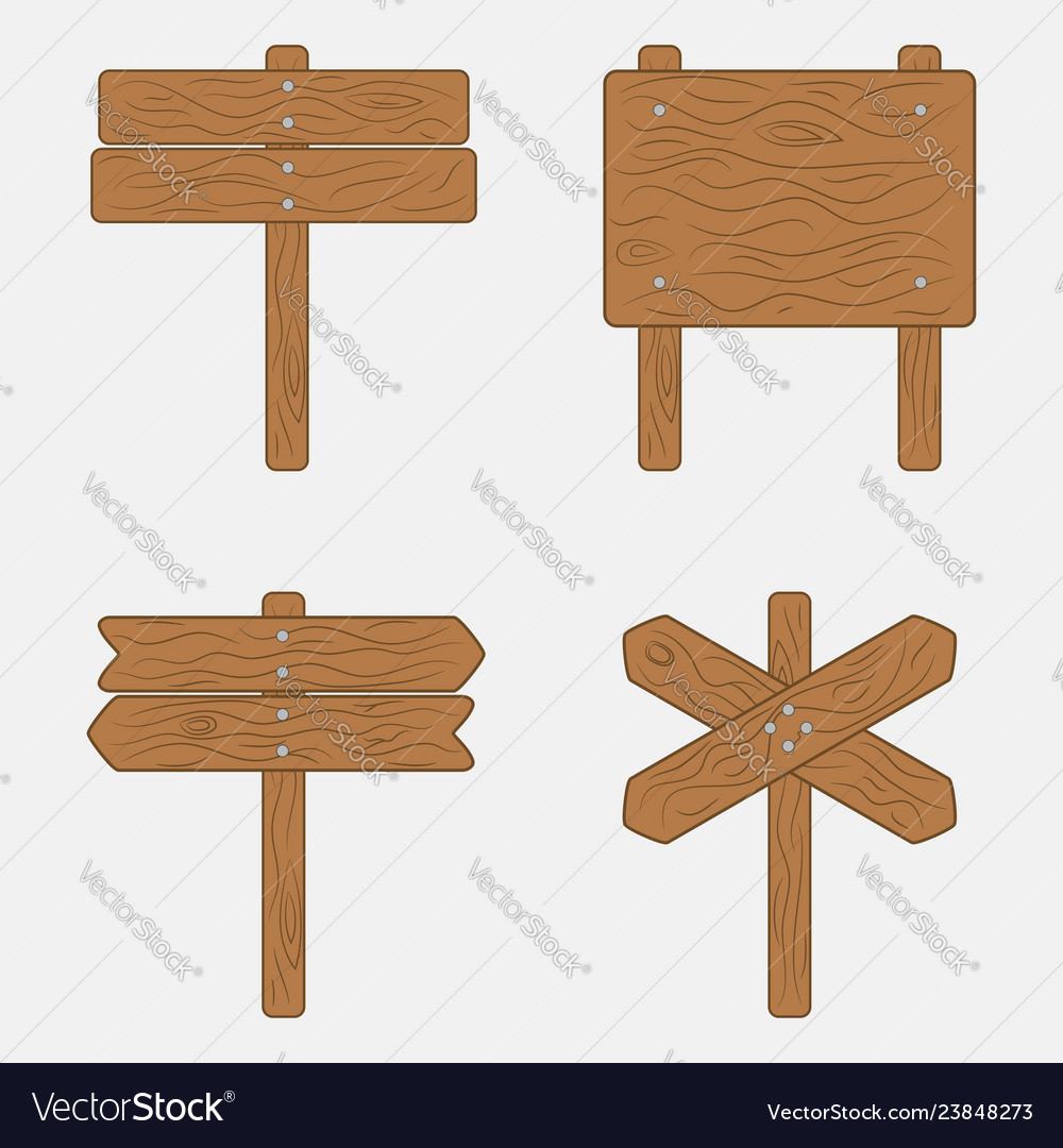 Wooden sign boards and signpost