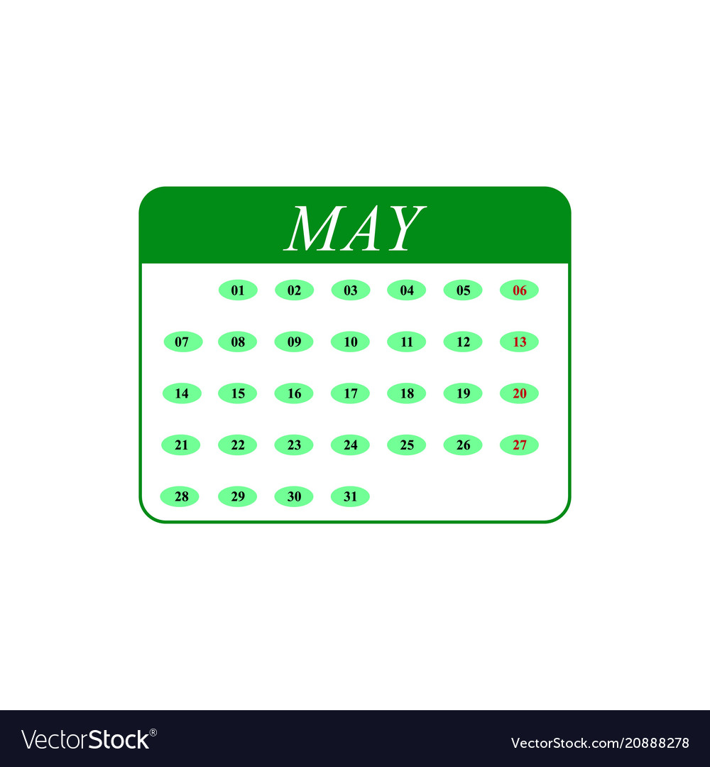 Calendar may month icons