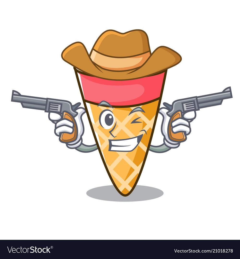 Cowboy ice cream tone character cartoon
