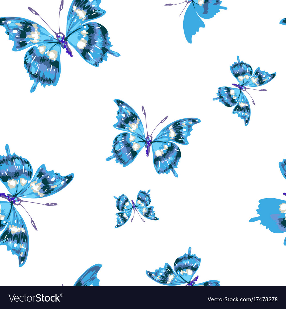Flying blue butterflies on a white background vector image for Fondo azul marino