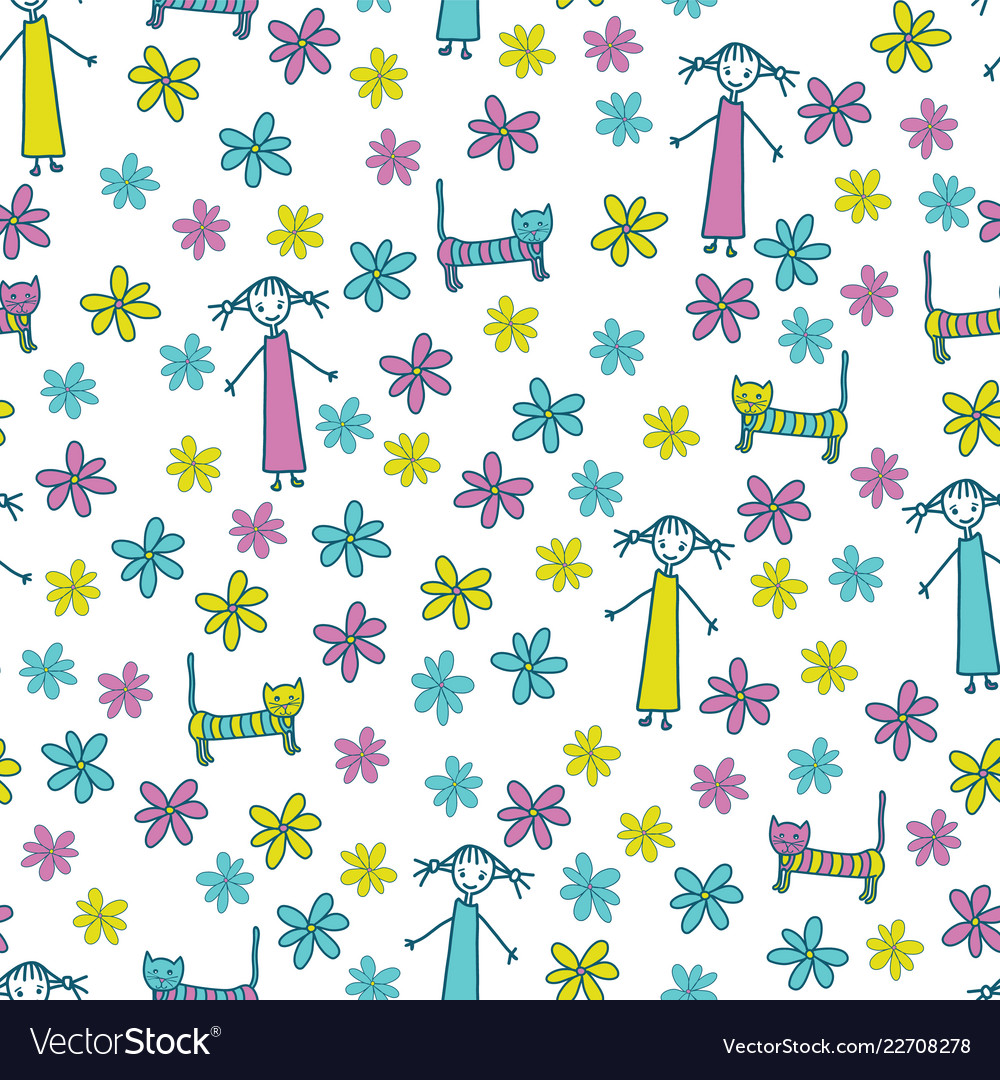 Girl cat and flowers cute seamless pattern