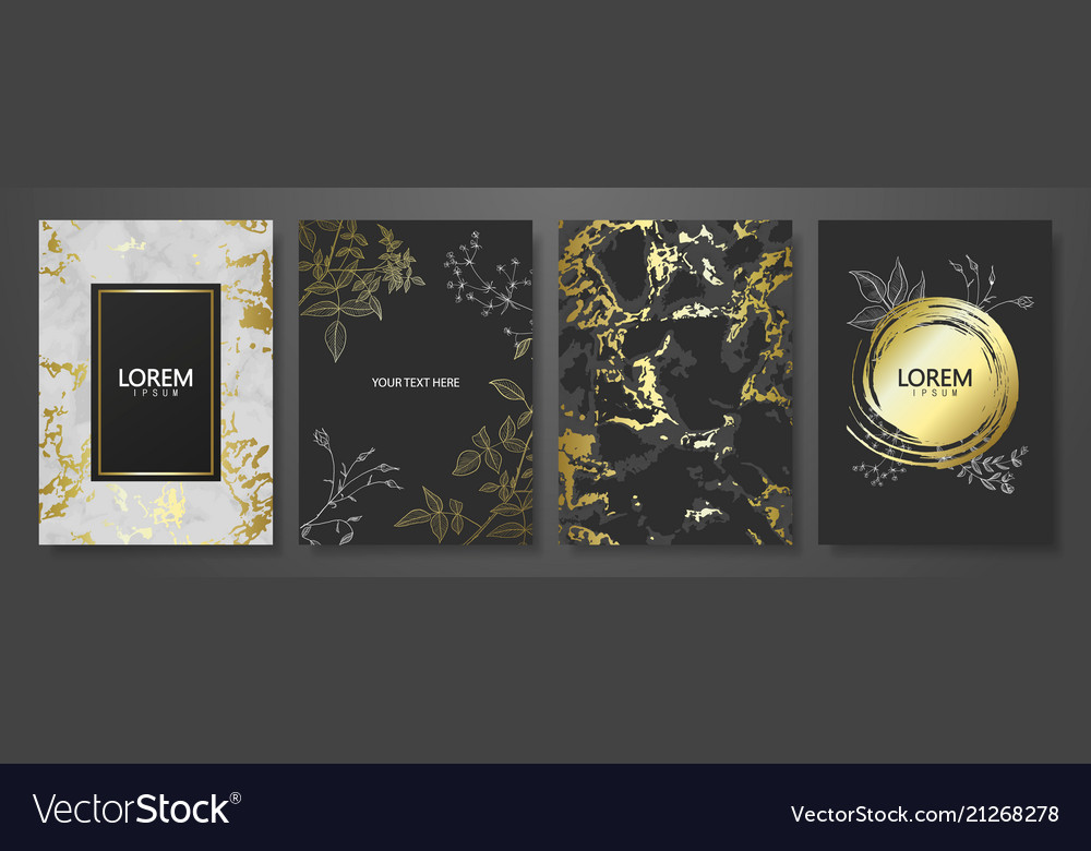 Luxury cards collection with marble golden texture