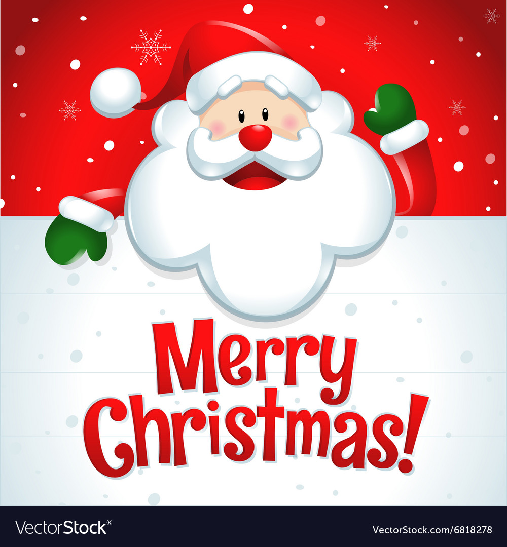 42036b24af358 Merry Christmas Santa Claus with big white sign Vector Image