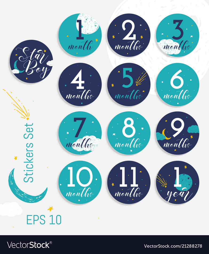 Monthly Baby Milestone Stickers For Boy Royalty Free Vector