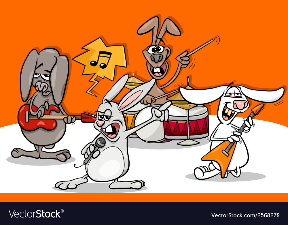 Rabbits rock music band cartoon vector image
