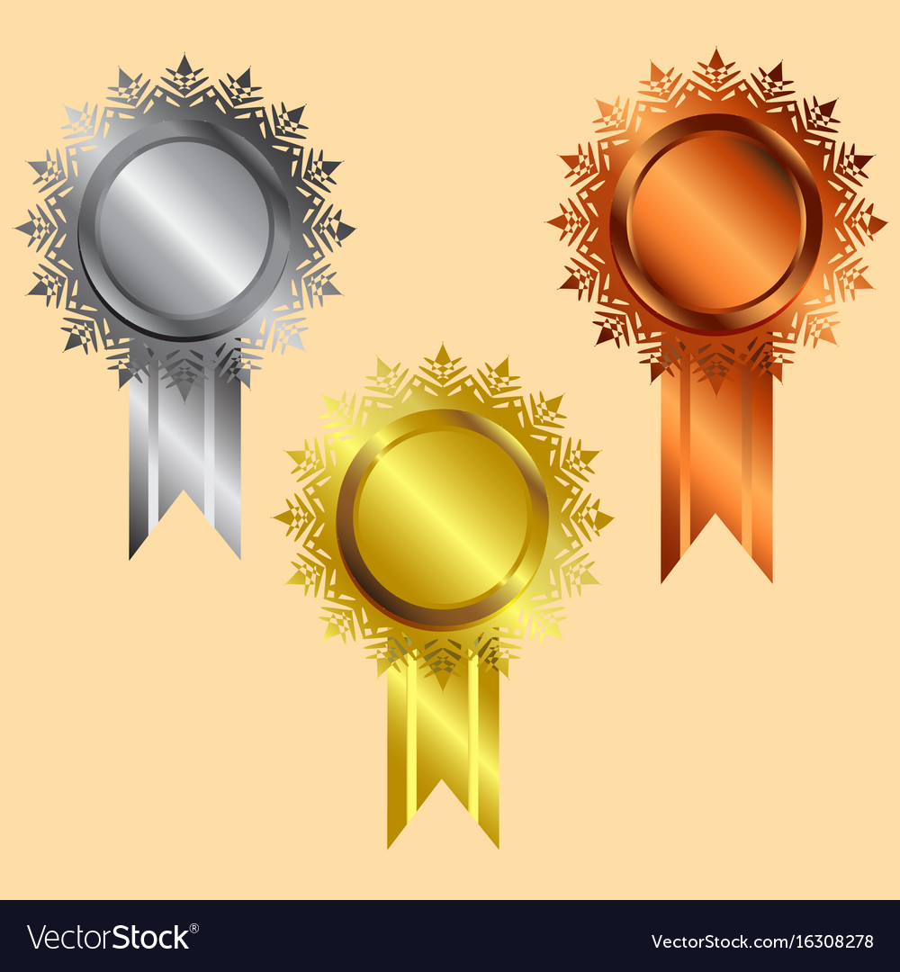 Reward icon gold silver bronze silver