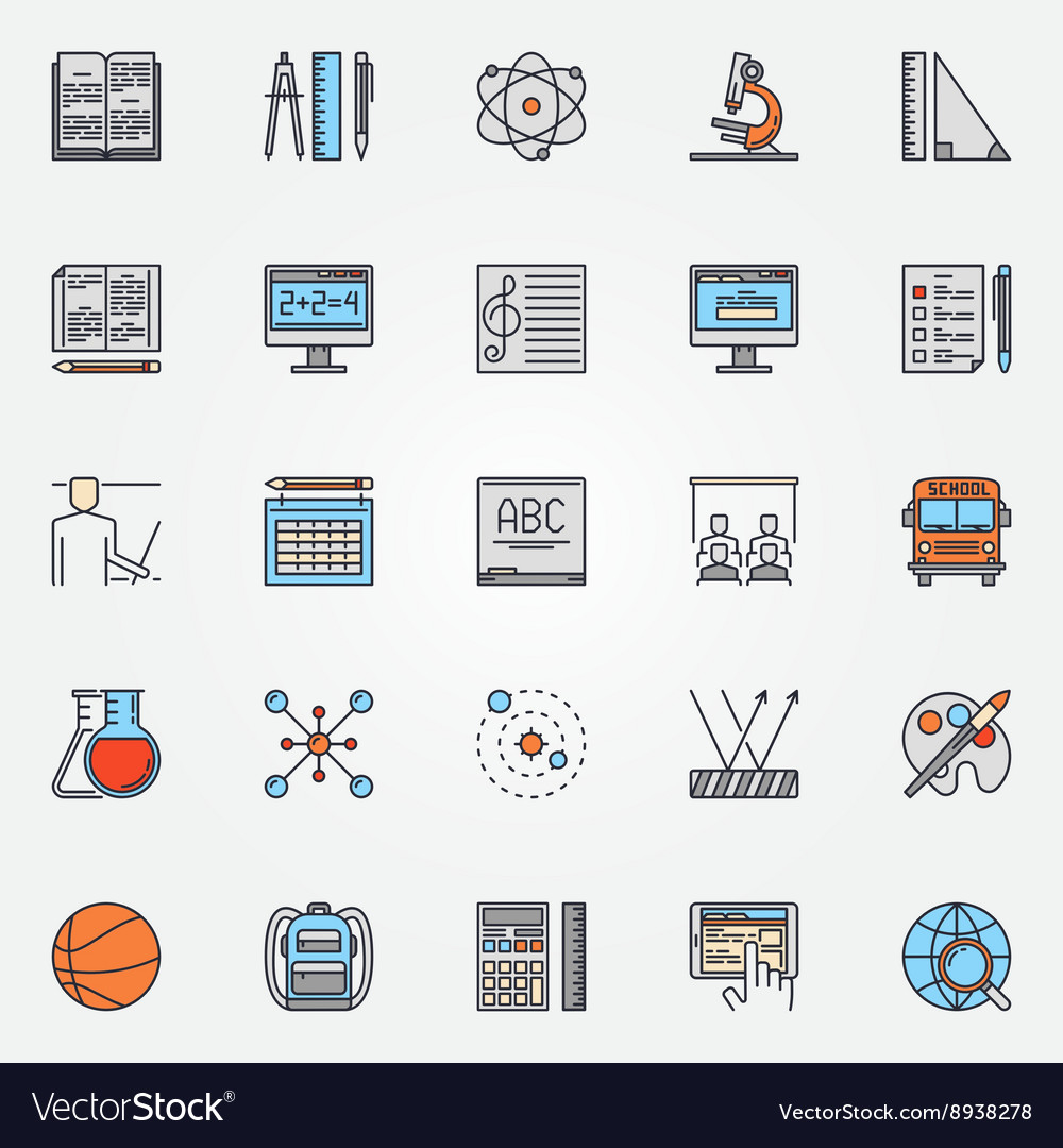 School icons colorful set