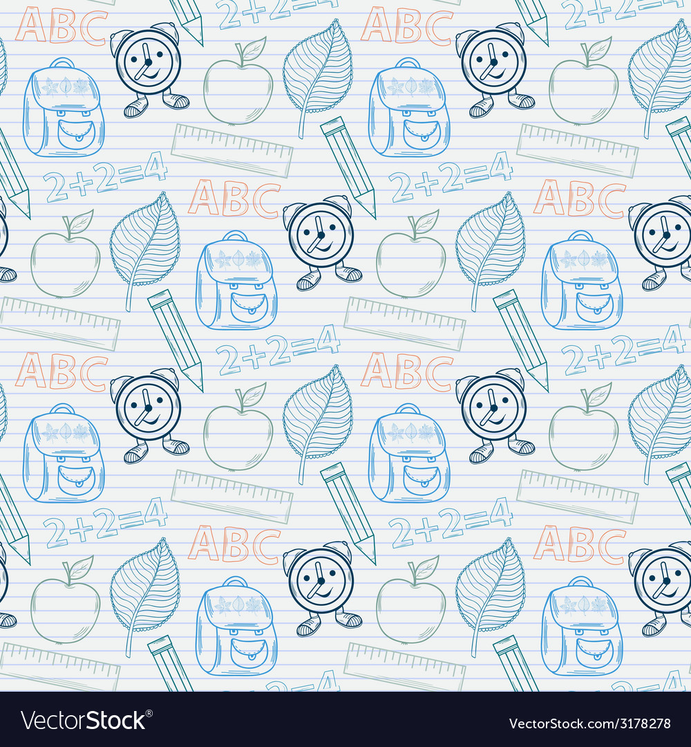 School pattern on the notebook sheet in line vector image