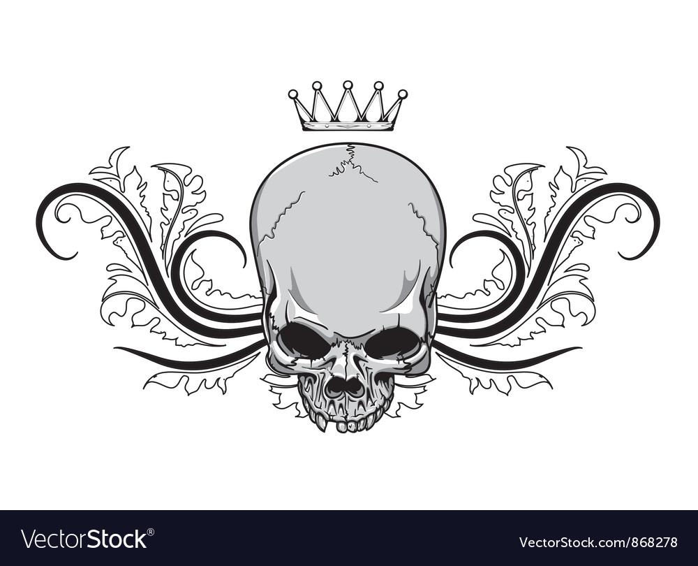 Skull with floral vintage t-shirt design vector image